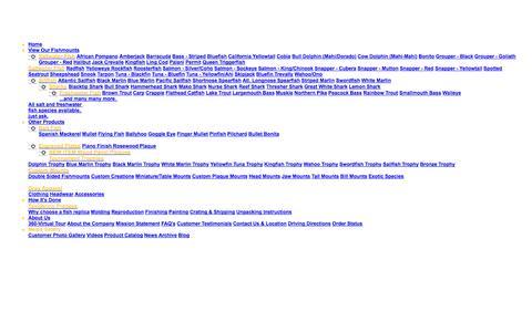 Screenshot of Menu Page graytaxidermy.com captured Oct. 3, 2014