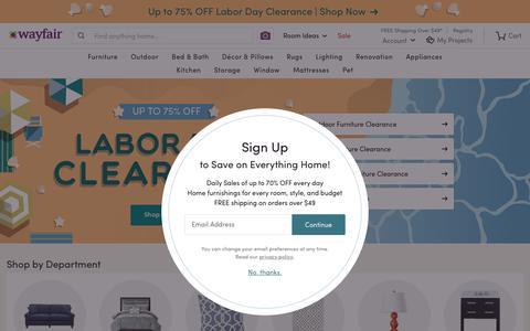 Screenshot of Home Page wayfair.com - Wayfair.com - Online Home Store for Furniture, Decor, Outdoors & More - captured Aug. 29, 2018