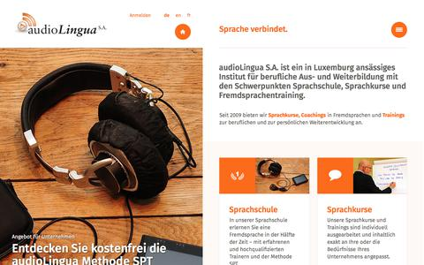 Screenshot of Home Page audio-lingua.lu - audioLingua S.A. - Sprachkurse, Sprachschule und Fremdsprachentraining, Luxemburg - captured Oct. 9, 2017