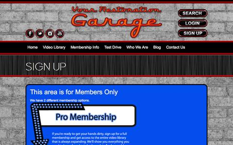 Screenshot of Signup Page yourrestorationgarage.com - Sign Up | Your Restoration Garage - captured Oct. 25, 2014