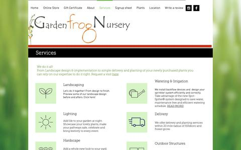Screenshot of Services Page thegardenfrog.com - Garden Frog Nursery | Services - captured Nov. 10, 2018