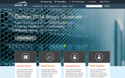 Screenshot of Home Page peak10.com - Cloud Computing Providers, IT Infrastructure as a Service (IAAS) | Peak 10 - captured Jan. 14, 2015