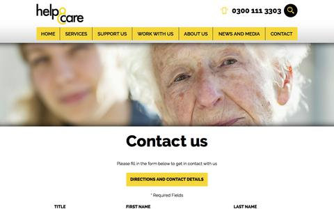 Screenshot of Contact Page helpandcare.org.uk - Contact Us | Help & Care · Help & Care - captured July 18, 2018