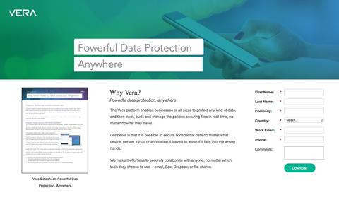 Screenshot of Landing Page vera.com - Tech White Paper: Secure Any Data, Anywhere | Vera - captured April 7, 2016