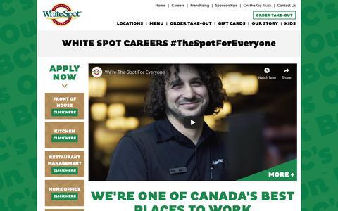Screenshot of Jobs Page whitespot.ca - WHITE SPOT CAREERS #TheSpotForEveryone | White Spot - captured Dec. 8, 2018