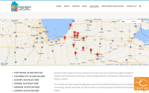 Screenshot of Locations Page homecomfortexpertsinc.com - Our Locations | Mishawaka | South Bend | Elkhart | Plymouth | Columbia City | Warsaw | Ft. Wayne | LaPorte | Indiana | Niles, Michigan | Home Comfort Experts - captured Aug. 26, 2017