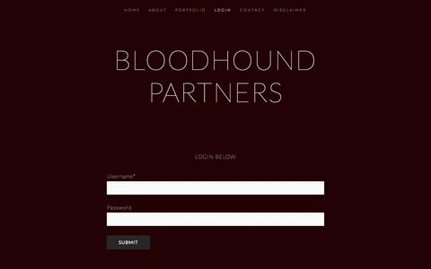 Screenshot of Login Page bloodhound.com - LOGIN — Bloodhound Partners - captured July 13, 2018