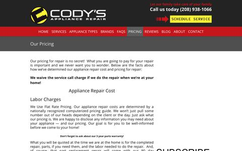 Screenshot of Pricing Page codysappliancerepair.com - Cody's Appliance Repair Prices & Warranty | Appliance Repair Cost - captured July 20, 2018