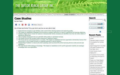 Screenshot of Case Studies Page thetaylorreachgroup.com - Case Studies - The Taylor Reach Group - Call Center Consultants - captured Oct. 6, 2014