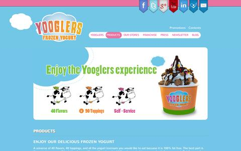 Screenshot of Products Page yooglers.com - Yooglers Frozen Yogurt Products - captured Oct. 4, 2014