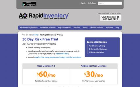Screenshot of Pricing Page rapidinventory.com - QuickBooks Inventory Software Pricing | AO: Rapid Inventory - captured Oct. 1, 2014