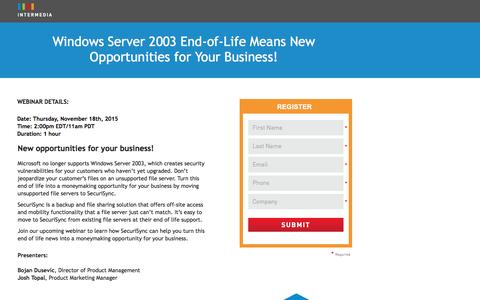 Screenshot of Landing Page intermedia.net - Webinar|Windows Server 2003 End-of-Life Means New Opportunities for Your Business - captured Oct. 21, 2016
