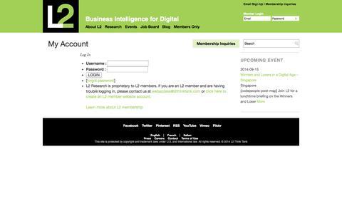 Screenshot of Login Page l2thinktank.com - LogIn   L2: Business Intelligence for Digital - captured Sept. 12, 2014
