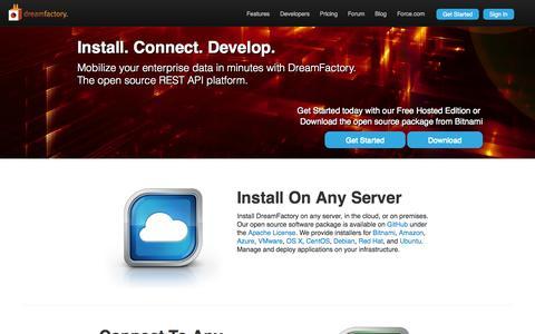 Screenshot of Home Page dreamfactory.com - DreamFactory   Open Source REST API for Mobile Enterprise Application Development - captured Sept. 16, 2014
