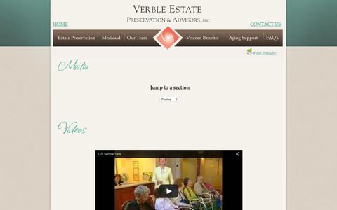 Screenshot of Press Page verbleseniorsolutions.com - Verble Estate Preservation & Advisors, LLC. - captured Feb. 23, 2016