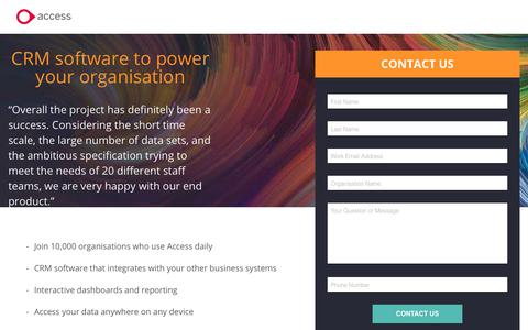 Screenshot of Landing Page theaccessgroup.com - Access thankQ CRM software | Contact Us - captured June 24, 2017