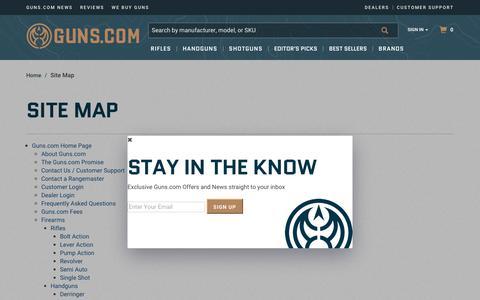 Screenshot of Site Map Page guns.com - Guns :: Site Map - captured Nov. 7, 2018