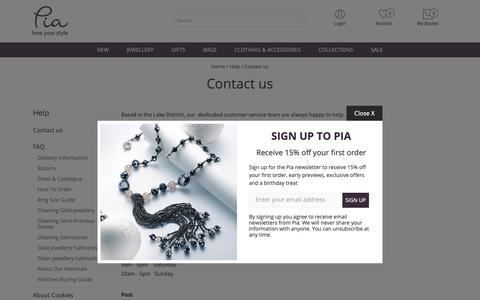 Screenshot of Contact Page piajewellery.com - Contact us | Help | Culture Vulture Direct - captured Oct. 30, 2018