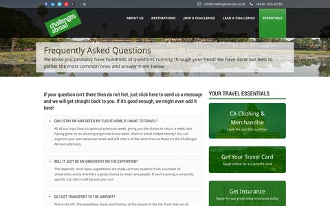 Screenshot of FAQ Page challengesabroad.co.uk - Challenges Abroad UK  Frequently Asked Questions » Challenges Abroad UK - captured Sept. 29, 2014