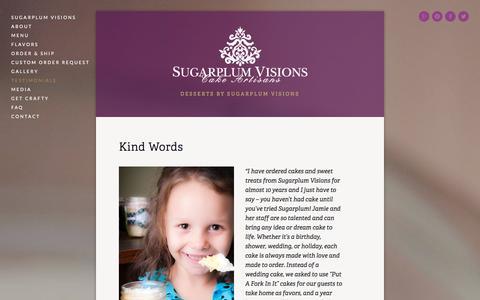 Screenshot of Testimonials Page sugarplum-visions.com - Testimonials — Put A Fork In It! - captured Sept. 30, 2014