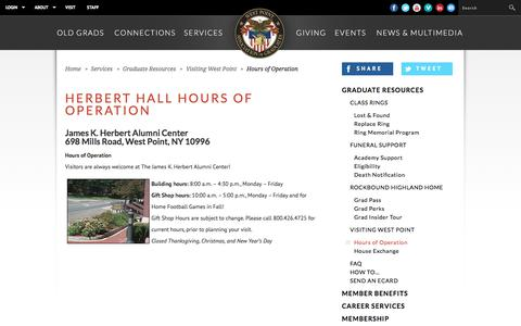Screenshot of Hours Page westpointaog.org - West Point Association of Graduates - captured Oct. 20, 2017