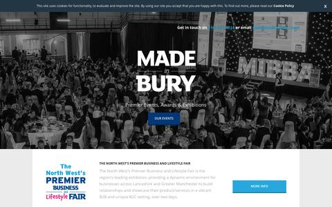 Screenshot of Home Page madeinbury.co.uk - Made In Bury - captured March 2, 2016