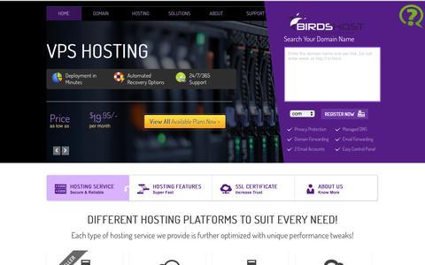 Screenshot of Home Page birdshost.com - Cheap Reseller Hosting, cPanel Web Hosting, VPS hosting, - captured Jan. 4, 2016