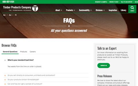 Screenshot of FAQ Page timberproducts.com - Answers to Frequently Asked Questions | Timber Products - captured Nov. 29, 2016
