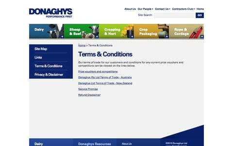 Screenshot of Terms Page donaghys.com - Terms & Conditions - Donaghys Ltd - captured Oct. 5, 2014