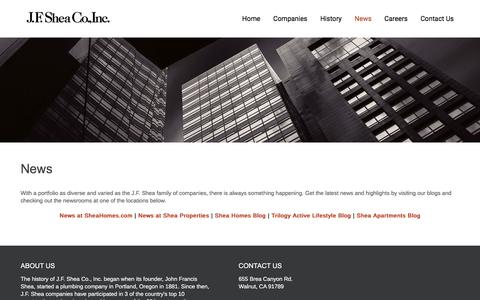 Screenshot of Press Page jfshea.com - News – J.F. Shea Co., Inc. - captured Nov. 18, 2016