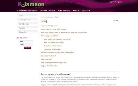 Screenshot of FAQ Page kjamson.com - FAQ - K.Jamson - captured Jan. 20, 2016