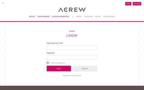 Screenshot of Login Page acrew.com - Login - ACREW - captured July 28, 2018