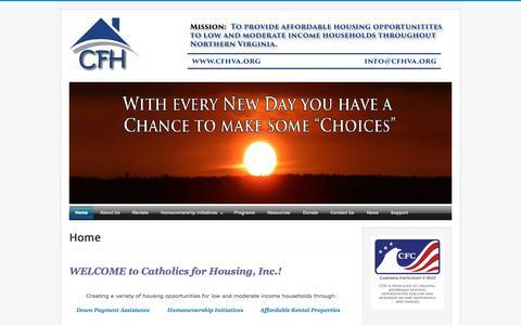 Screenshot of Home Page cfhva.org - CFH - Catholics for Housing - captured Feb. 5, 2015
