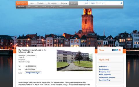 Screenshot of Contact Page one2many.eu - Netherlands - one2many.eu - captured Oct. 6, 2014