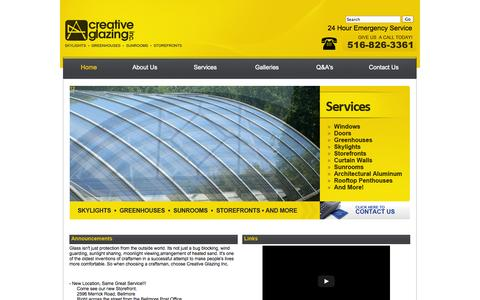 Screenshot of Home Page creativeglazing.com - Long Island Glass Repair | Fogged Glass Replacement, Skylights, Greenhouses, Sunrooms, Storefronts | Creative Glazing Inc. - captured Oct. 3, 2014