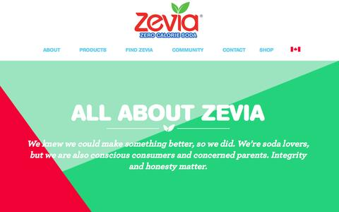 Screenshot of About Page zevia.com - About Zevia Soda: Healthy Alternative to Diet Soda - Non GMO Soda Without HFCS | Zevia Zero Calorie Soda - captured July 9, 2016