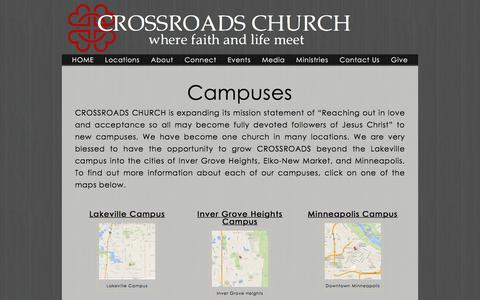 Screenshot of Locations Page crossroadschurch.org - Locations �  Crossroads Lakeville - captured Dec. 6, 2015