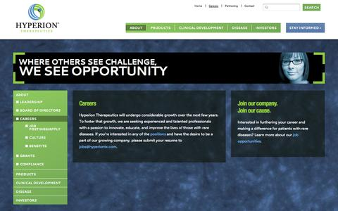 Screenshot of Jobs Page hyperiontx.com - Career Opportunities at Hyperion Therapeutics - captured Sept. 16, 2014