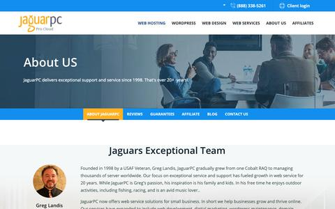 Screenshot of About Page jaguarpc.com - Professional VPS & WordPress Web Hosting and Dedicated Server - captured April 20, 2019