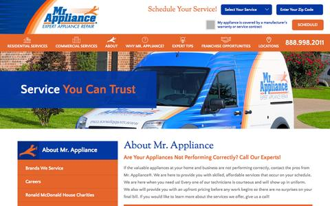 Screenshot of About Page mrappliance.com - About Mr. Appliance | Appliance Repair Franchise Systems - captured Oct. 22, 2015