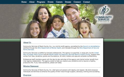 Screenshot of About Page since1919.org - About Community Services of Stark County - captured Oct. 2, 2014