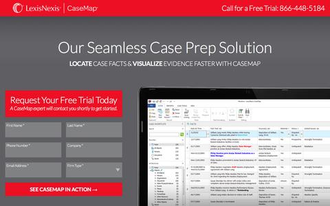 Screenshot of Landing Page lexisnexis.com - CaseMap® - captured Sept. 30, 2016