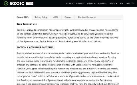 Screenshot of Terms Page ezoic.com - Terms of Service   Ezoic - captured Jan. 18, 2020