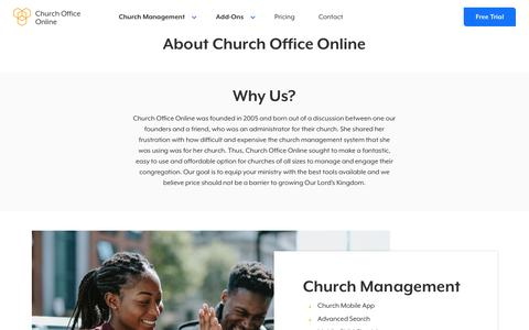 Screenshot of About Page churchofficeonline.com - About - Church Office Online - captured Feb. 19, 2020