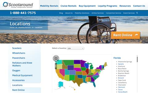 Screenshot of Locations Page scootaround.com - Wheelchair and Mobility Scooter Rental Locations Across North America - captured Oct. 21, 2016