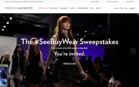 Screenshot of Home Page rebeccaminkoff.com - Rebecca Minkoff Online Store: Handbags, Clothing, Shoes, & Accessories  | Rebecca Minkoff - captured Jan. 31, 2016
