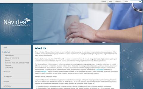 Screenshot of About Page navidea.com - Navidea is focused on diagnostic and radiopharmaceutical imaging agents - captured Feb. 21, 2016