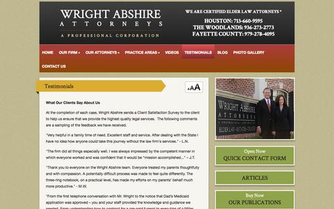 Screenshot of Testimonials Page wrightabshire.com - Testimonials | Wright Abshire, Attorneys, A Professional Corporation | Houston Texas - captured Oct. 7, 2014
