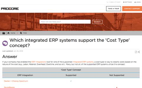 Which integrated ERP systems support the 'Cost Type' concept? - Procore