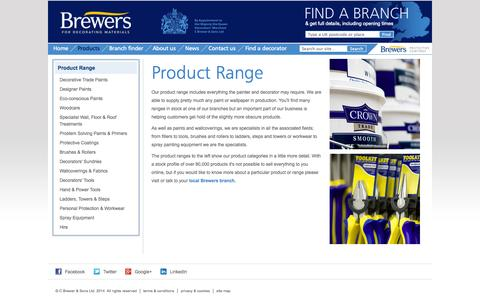 Screenshot of Products Page brewers.co.uk - Product Range : Brewers - captured Sept. 30, 2014